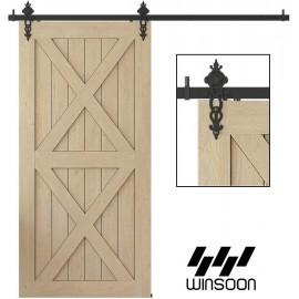 Winsoon 4-18 FT Sliding Barn Door Hardware Kit For Single Door Black Hangers Heavy Duty Sturdy Black Steel Floral