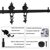 Winsoon 4-18 FT Sliding Barn Door Hardware Kit For Single Door Black Hangers Heavy Duty Sturdy Black Steel Floral