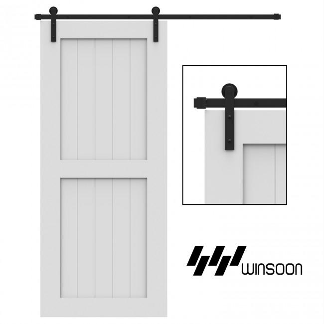 Winsoon 4-18 FT Sliding Barn Door Hardware Kit For Single Door Black I Shape Hangers Heavy Duty Sturdy  Smoothly and Quietly