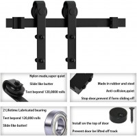 Winsoon 4-18 FT Sliding Barn Door Hardware Kit For Single Door Smoothly and Quietly Black J Shape Hangers Heavy Duty Sturdy
