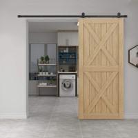 Winsoon 4-18 FT Top Mount Sliding Barn Door Hardware Kit For Single Door Black Hangers Heavy Duty Sturdy Black Steel