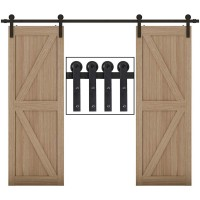 Sliding Barn Door Hardware Track Kit Single Double Black Steel I Shape