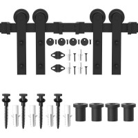 WinSoon 4-18FT Barn Door Hardware Sliding Track Kit Black Steel I-Shape