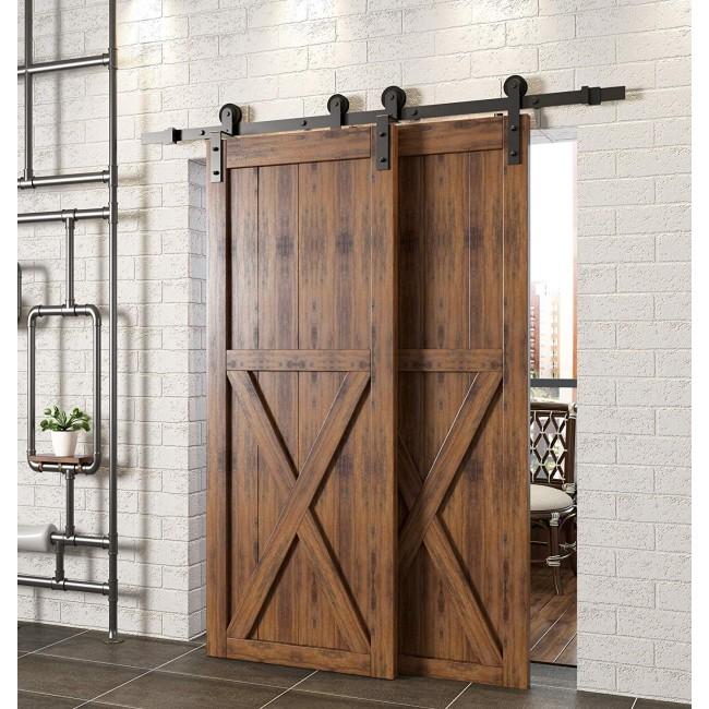 Winsoon 4-18FT Bypass Barn Door Hardware Rail Kit Closet Hanger Single Track Double Door One piece Track