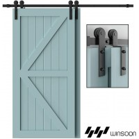 Winsoon 4-18FT Bypass Barn Door Hardware Rail Kit Closet Hanger Single Track Double Door One piece Track i Style hanger Heavy Duty
