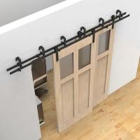 WinSoon 4-18FT Bypass Sliding Barn Door Hardware Double Track Kit I Style Straight New Style U Bracket Wall Mount Hanger