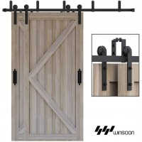 WinSoon 4-18FT Bypass Sliding Barn Door Hardware Double Track Kit I Style Straight New Style U Bracket Wall Mount Hanger