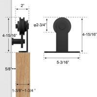 Sliding  Barn Door Hardware Kit Single Bi-Part Top Mount