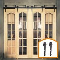 WinSoon 4-18FT Retro 4 Doors Bypass Sliding Barn Door Hardware Track Kit New Bracket(Arrow)