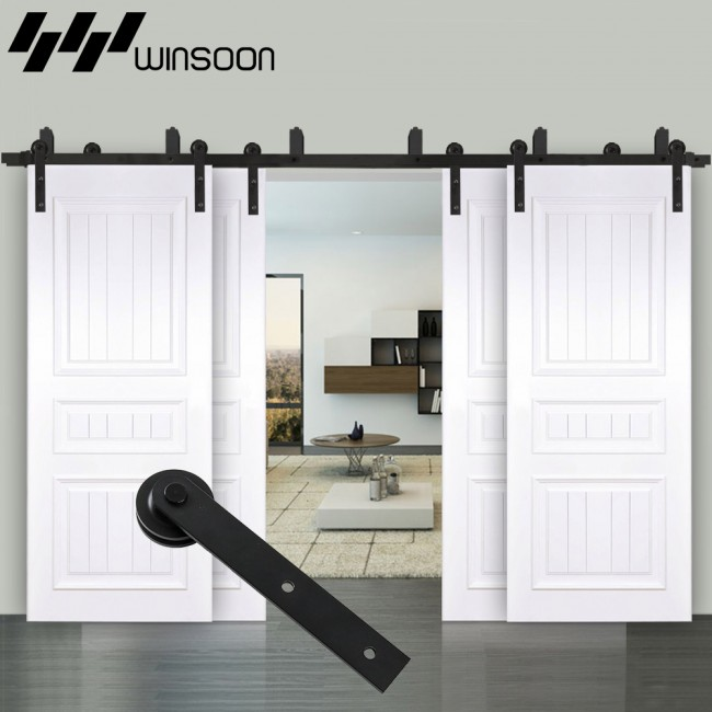 WinSoon 4-18FT Retro 4 Doors Bypass Sliding Barn Door Hardware Track Kit Straight i style New Bracket