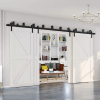 WinSoon 4-18FT Retro 4 Doors Bypass Sliding Barn Door Hardware Track Kit Straight i style New Bracket