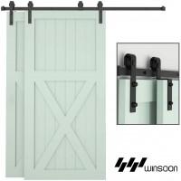 Winsoon 4-18FT Single Track Bypass Barn Door Hardware Kit Closet Double Door Low Ceiling