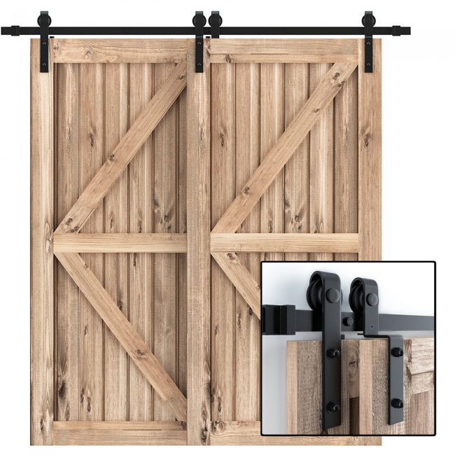 Winsoon 4-18FT Single Track Bypass Barn Door Hardware Kit Closet Double Door Low Ceiling