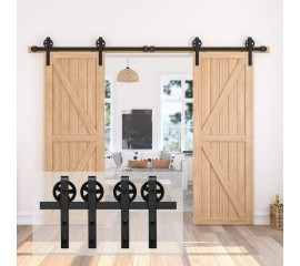 WinSoon 4-18FT Sliding Barn Door Hardware Track Kit Double Doors Black Wheel Steel