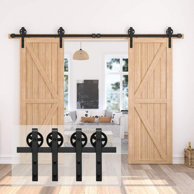 Sliding Barn Double Door Hardware Kit Hanging Rail Track Roller Mini Silent Set