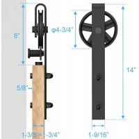 WinSoon 4-18FT Sliding Barn Door Hardware Double Doors Track Kit Black Wheel Style