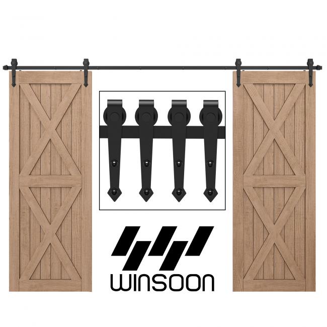 WinSoon 4-18FT Sliding Barn Door Hardware Double/Single Door Track Kit Arrow
