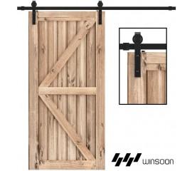 WinSoon 4-18FT Sliding Barn Door Hardware Double/Single Track Kit Bent Straight