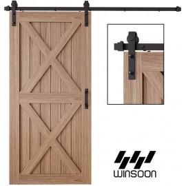 WinSoon 4-18FT Sliding Barn Door Hardware Kit For Double Single Door Track Kit J Shape Roller Hanger Black Steel