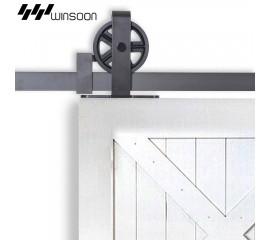 Sliding Barn Door Hardware Kit Big Spoke Wheels T-Shape