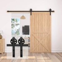 Sliding Barn Door Hardware Track Kit Single Door Black Wheel