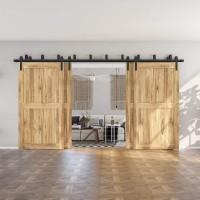 WINSOON 4-18FT Sliding Barn Wood Door Hardware Kit  Bypass System 4 Doors  Bending Design Wall Mount Bracket Fit Wooden Doors