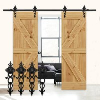 WinSoon 4-18T Sliding Barn Wooden Door Hardware Track Kit Single Door Double Door Closet Hanger Cabinet Wheel Floral