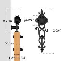 WinSoon 4-18T Sliding Barn Wooden Door Hardware Track Kit Single Door Double Door Closet Hanger Cabinet Wheel Floral