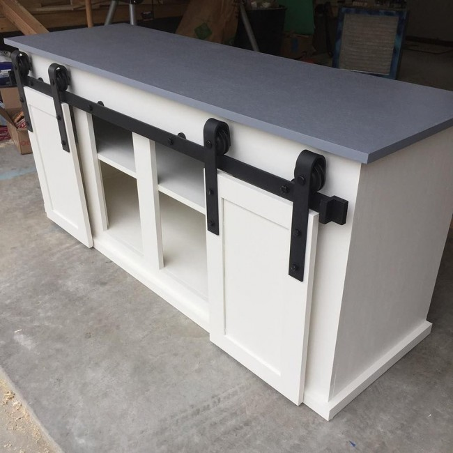 WinSoon 4-7.5T Sliding Barn Wooden Door Hardware Track Kit  Double Door Closet Hanger