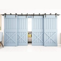 WINSOON 4FT-18FT Metal 4 Doors Sliding Bypass Barn Wood Door Hardware Kit System Bending Design Wall Mount Bracket Fit Double Wooden Doors