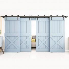 WINSOON 4FT-18FT Metal 4 Doors Sliding Bypass Barn Wood Door Hardware Kit System Bending Design Wall Mount Bracket Fit Double Wooden Doors