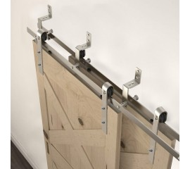 WINSOON 4FT-18FT Modern Sliding Bypass Barn Door Hardware 304 Stainless Steel Double Doors Kit Cabinet Closet System Silver