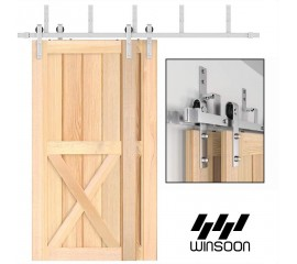Sliding Bypass Barn Door Hardware 304 Stainless Steel Double Doors Kit