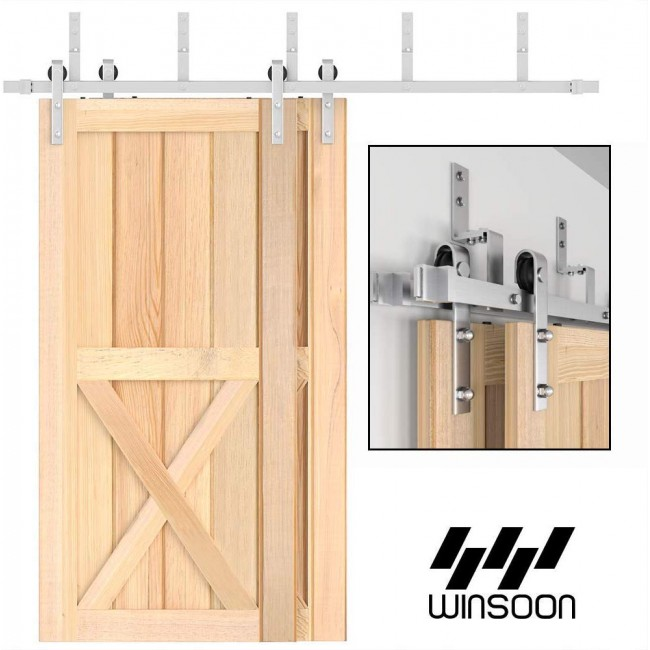 WINSOON 4FT-18FT Modern Sliding Bypass Barn Door Hardware 304 Stainless Steel Double Doors Kit Cabinet Closet System Silver