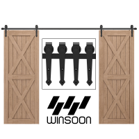 Winsoon 5-16 FT Sliding Barn Door Hardware Kit For Double Door Black Hangers Heavy Duty Sturdy Arrow