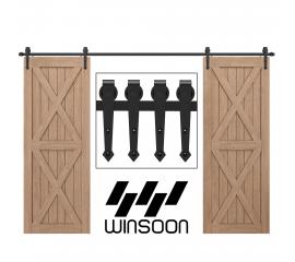 Sliding Barn Door Hardware Kit For Double Door Black Hanger Arrow
