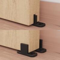 Winsoon 5-16 FT Sliding Barn Door Hardware Kit For Double Door Black Hangers Heavy Duty Sturdy Floral