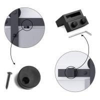 Winsoon 5-16 FT Sliding Barn Door Hardware Kit For Double Door Black I Shape Hangers Heavy Duty Sturdy