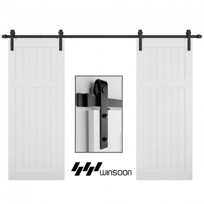 Winsoon 4-18 FT Sliding Barn Door Hardware Kit For Double Door Smoothly and Quietly Black J Shape Hangers Heavy Duty Sturdy