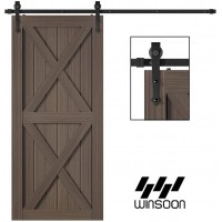 Winsoon 5-16 FT Sliding Barn Door Hardware Kit For Single Door Black Hangers Heavy Duty Sturdy  Arrow