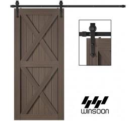 Winsoon 5-16 FT Sliding Barn Door Hardware Kit For Single Door Black Hangers Heavy Duty Sturdy  Arrow