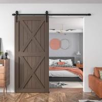 Winsoon 4-18 FT Sliding Barn Door Hardware Kit For Single Door Black Hangers Heavy Duty Sturdy  Arrow