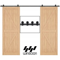 Top Mount Sliding Barn Door Hardware Kit For Double Door Black