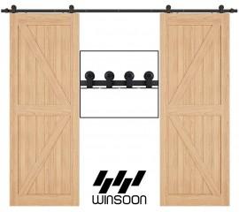 Top Mount Sliding Barn Door Hardware Kit For Double Door Black