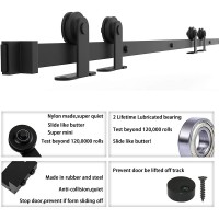 Winsoon 5-16 FT Top Mount Sliding Barn Door Hardware Kit For Double Door Black Hangers Heavy Duty Sturdy