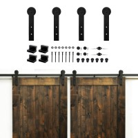 WinSoon 5-16FT Basic Double/Single Barn Door Hardware Track Kit Straight Black