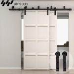 WinSoon 5-16FT Bypass Sliding Barn Door Hardware Double Rustic Black Track Kit New