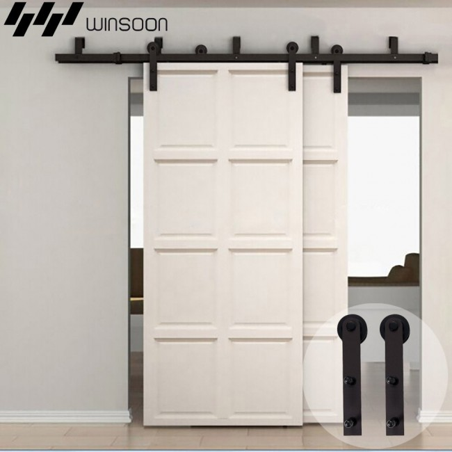Winsoon 5 16ft Bypass Sliding Barn Door Hardware Double Rustic Black