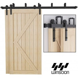 WinSoon 4-16FT Bypass Sliding Barn Door Hardware Double Rustic Black Track Kit New