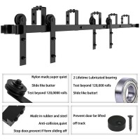 WinSoon 4-16FT Bypass Sliding Barn Door Hardware Double Rustic Black Track Kit New Barn Door Bypass